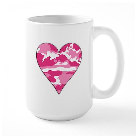 Pink Camo 2D Valentine Heart Large Mug