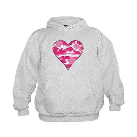 Pink Camo 2D Valentine Heart Kids Hoodie