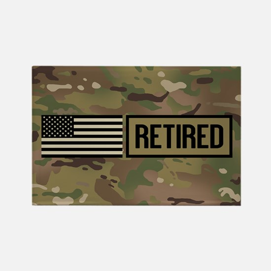 Military: Retired (Camo Rectangle Magnet (10 pack)