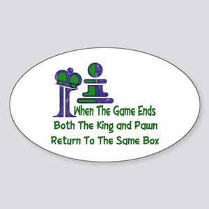 Chess and Death Oval Sticker