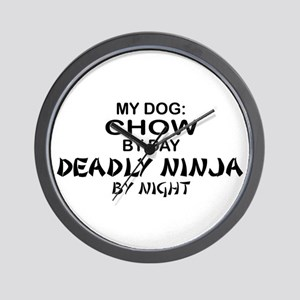 Chow Deadly Ninja by Night Wall Clock