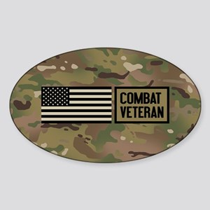 Military: Combat Veteran (Camo) Sticker (Oval)