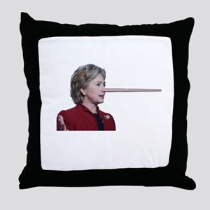 Hillary Clinton Pinocchio Throw Pillow