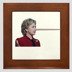 Hillary Clinton Pinocchio Framed Tile