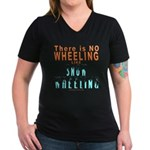 SNOW WHEELING Women's V-Neck Dark T-Shirt