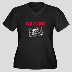 Old School Mix Tape Women's Plus Size V-Neck Dark
