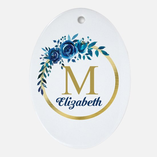 Blue Floral Gold Circle Monogram Oval Ornament