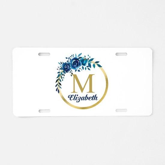 Blue Floral Gold Circle Monogram Aluminum License
