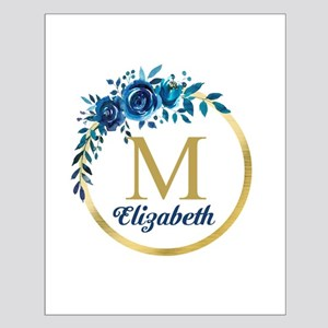 Blue Floral Gold Circle Monogram Posters