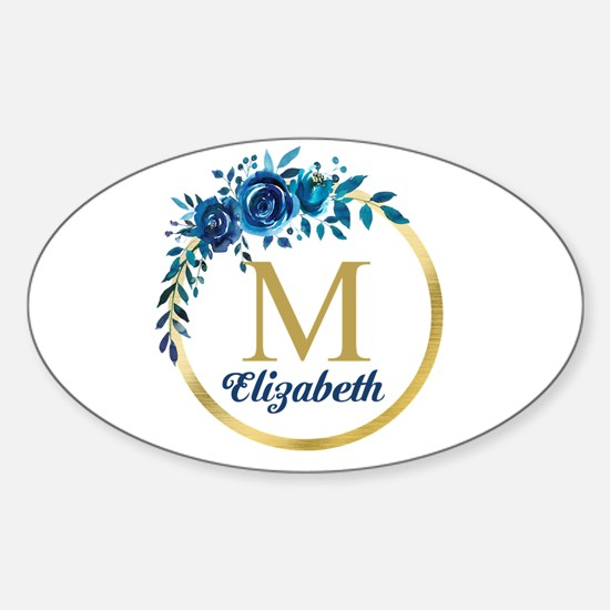 Blue Floral Gold Circle Monogram Decal