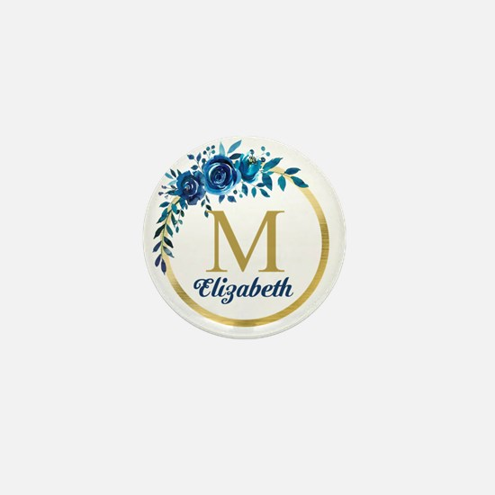 Blue Floral Gold Circle Monogram Mini Button (10 p