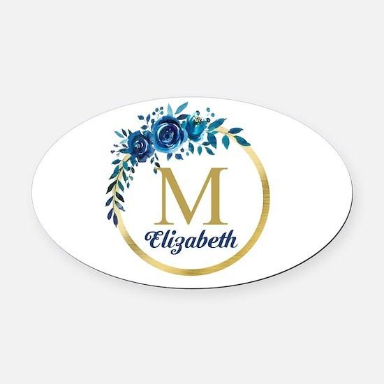 Blue Floral Gold Circle Monogram Oval Car Magnet