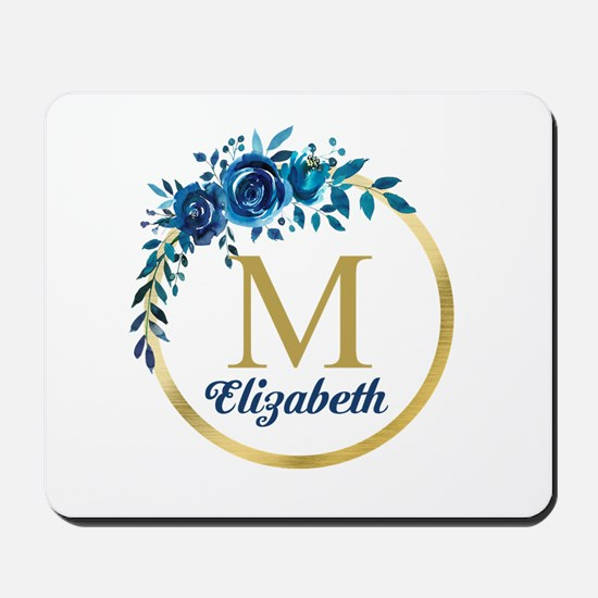 Blue Floral Gold Circle Monogram Mousepad