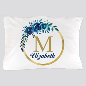 Blue Floral Gold Circle Monogram Pillow Case