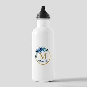 Blue Floral Gold Circle Monogram Water Bottle