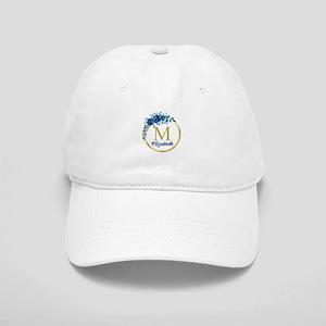 Blue Floral Gold Circle Monogram Baseball Cap