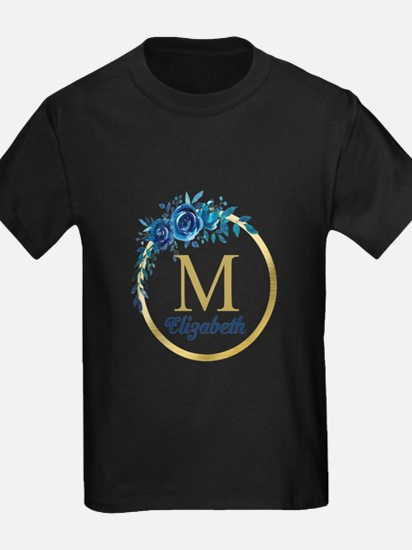 Blue Floral Gold Circle Monogram T-Shirt