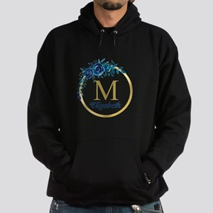 Blue Floral Gold Circle Monogram Sweatshirt