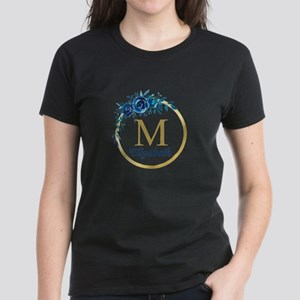 Blue Floral Gold Circle Monogram T-Shirt