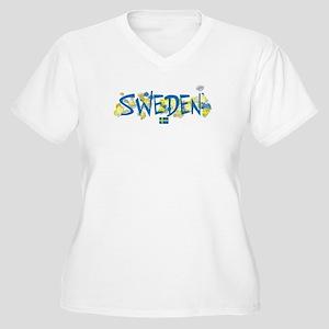 SWEDEN Women's Plus Size V-Neck T-Shirt