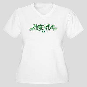 NIGERIA Women's Plus Size V-Neck T-Shirt
