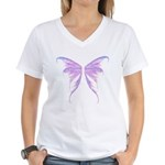 blue/ purple wings Women's V-Neck T-Shirt