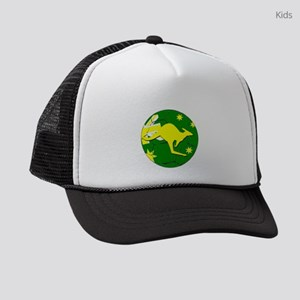 Australia Kangaroo on Soccer ball Kids Trucker hat