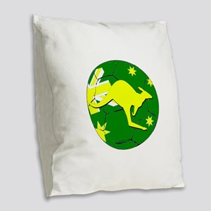 Australia Kangaroo on Soccer b Burlap Throw Pillow