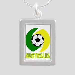 Green and Yellow Australia Soccer ball d Necklaces
