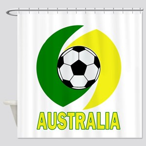 Green and Yellow Australia Soccer b Shower Curtain
