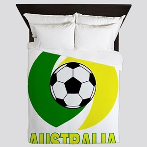 Green and Yellow Australia Soccer ball Queen Duvet