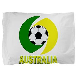 Green and Yellow Australia Soccer ball Pillow Sham