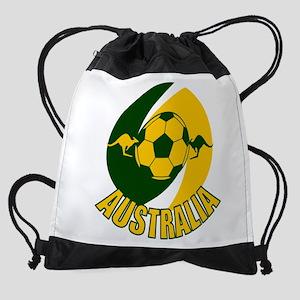 Australia soccer kangaroos with bal Drawstring Bag