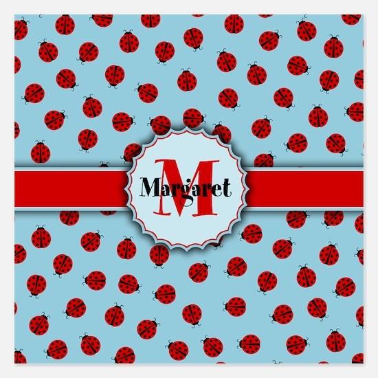 MONOGRAM Ladybug Pattern Invitations