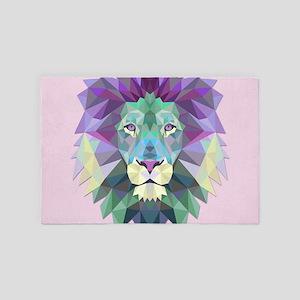 Triangle Colorful Lion Head 4' x 6' Rug