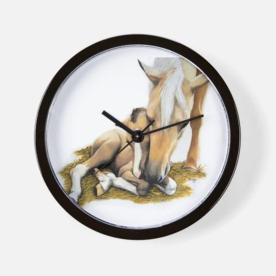 Palomino, Mare, buckskin, foa Wall Clock