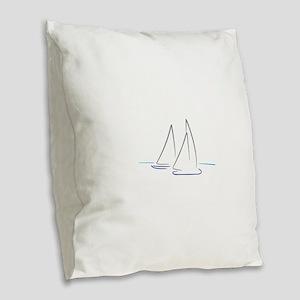 sailing Burlap Throw Pillow