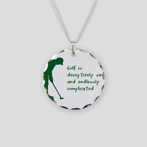 Golf Necklace Circle Charm