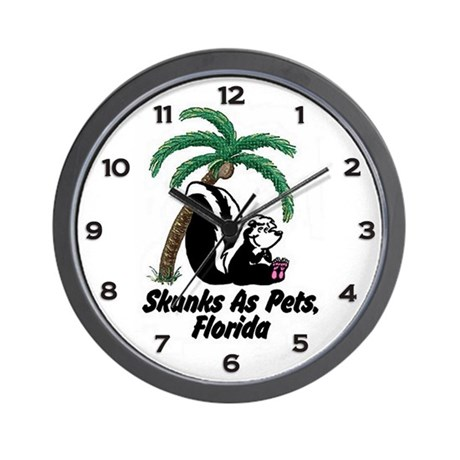 Florida Skunks as Pets Wall Clock