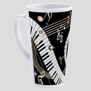 Piano and musical notes 17 oz Latte Mug