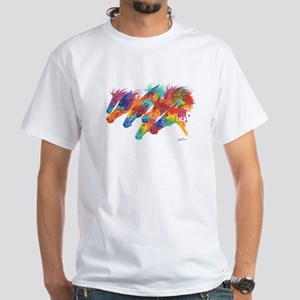 Pschedelic Derby Horses White T-Shirt