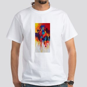 blue diamond psychedelic horse White T-Shirt