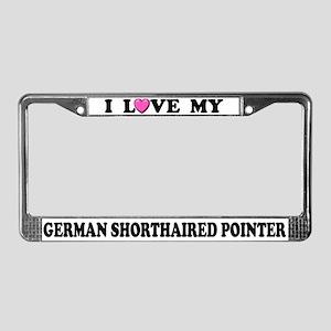 I Love My German Shorthaired Pointer License Frame