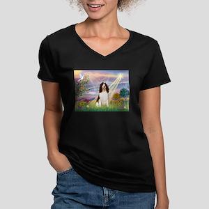 Cloud Angel & Springer Women's V-Neck Dark T-Shirt
