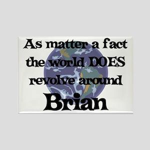 World Revolves Around Brian Rectangle Magnet
