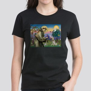 St. Francis & Wire Fox Terrier Women's Dark T-Shir