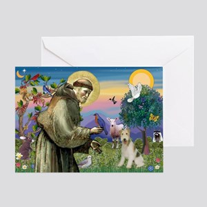 St. Francis & Wire Fox Terrier Greeting Card