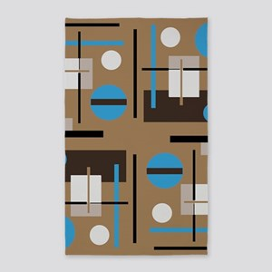Abstract shaped pattern in retro color sc Area Rug
