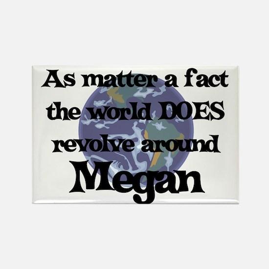 World Revolves Around Megan Rectangle Magnet