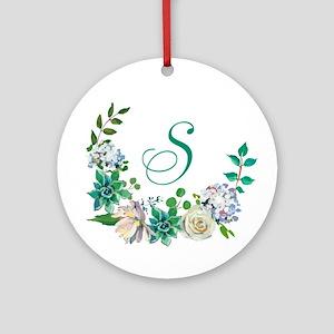 Monogrammed Spring Floral Wreath Round Ornament